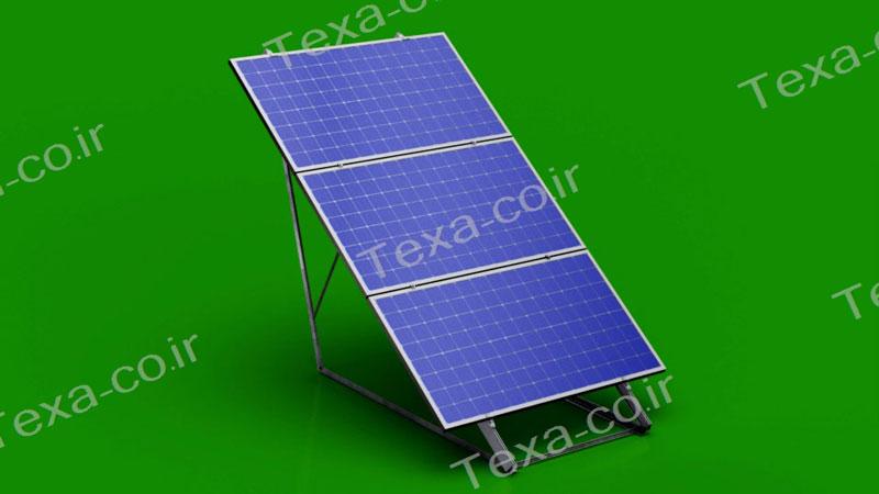 استراکچر خورشیدی سه ردیفه افقی تکسا