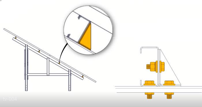 نگهدارنده جانبی ریل زیر پنل سازه خورشیدی